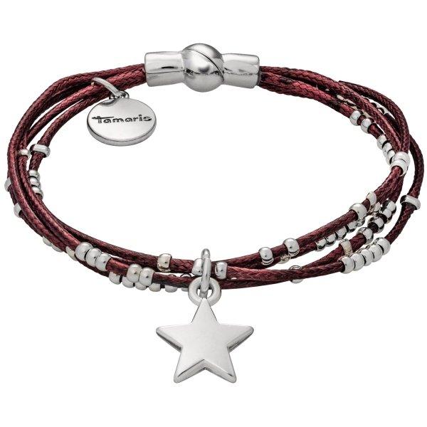 Tamaris Fiby Armband bordeaux aus Stoff mit Metallbesätzen und Sternanhänger, Magnetverschluss