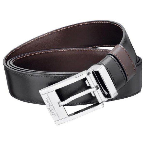 S.T. Dupont Ledergürtel schwarz / braun delta box
