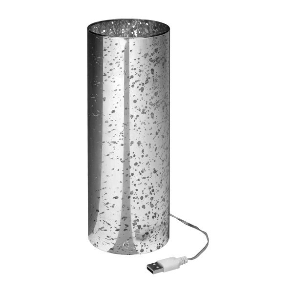 UBS LED Lampe in Zylinderform aus Glas