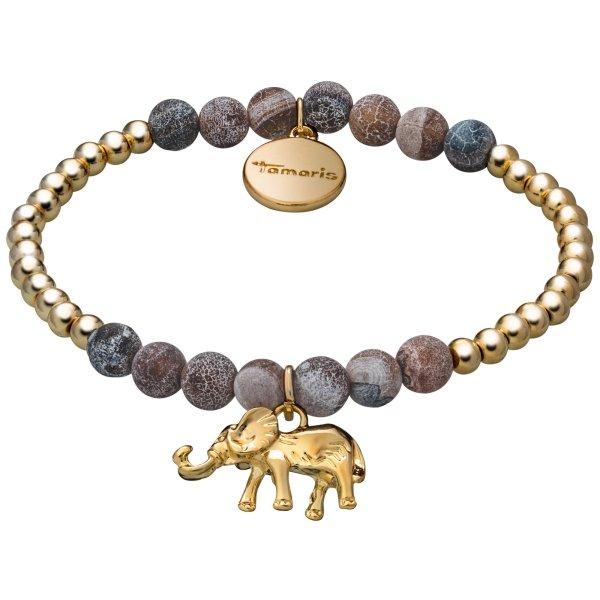 Tamaris Babsy Armband gold/braun mit Anhänger in Form eines Elefanten und Zugband
