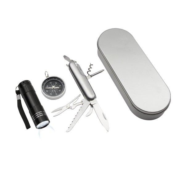 Outdoorset 3-teilig bestehend aus Kompass, Taschenmesser und LED-Taschenlampe