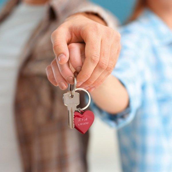 Schlüsselanhänger mit Gravur Herz rot