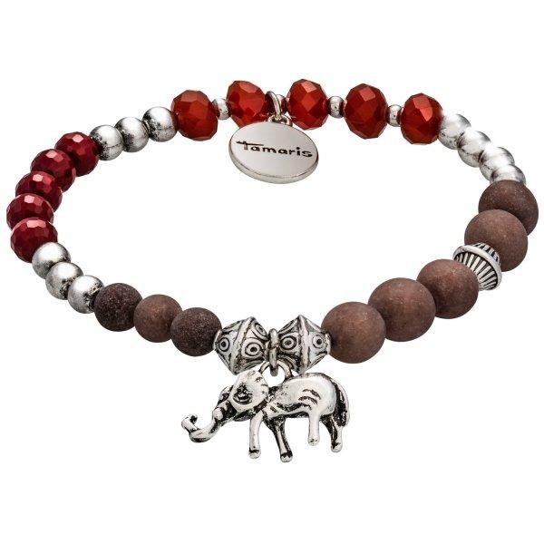 Tamaris Abby Armband silber/bordeaux mit Anhänger in Form eines Elefanten und Zugband
