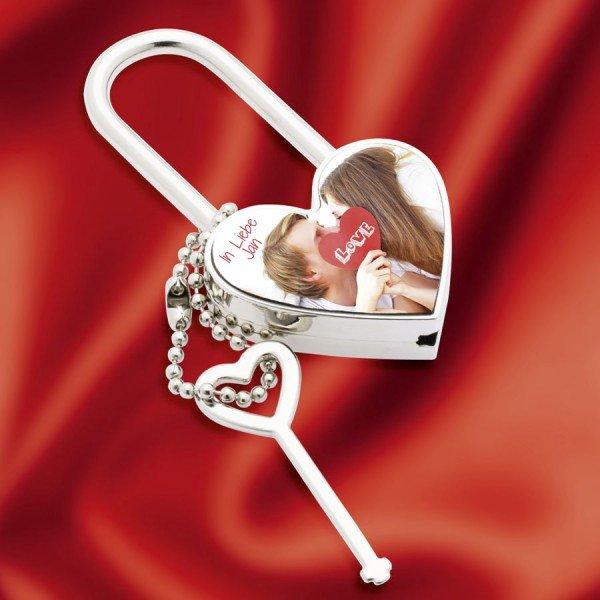 Liebesschloss mit Namen und Foto selbst gestalten Herz