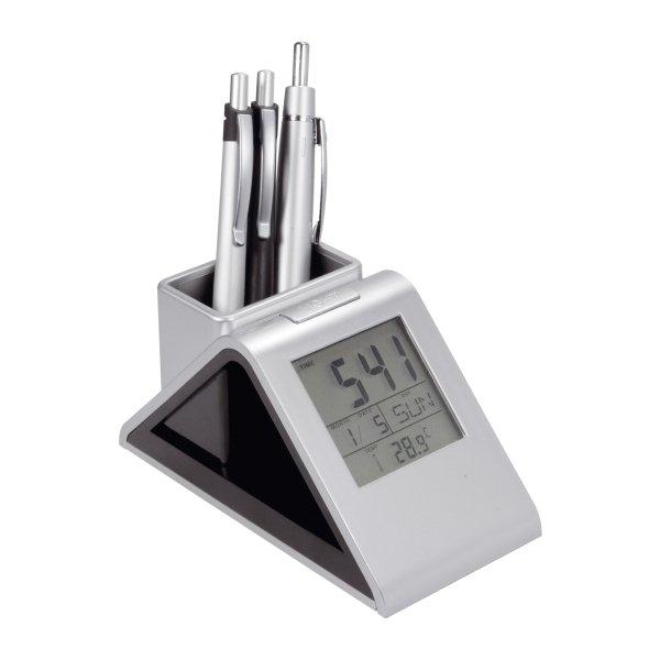 Stifthalter mit Uhr und Wechsellichtfunktion