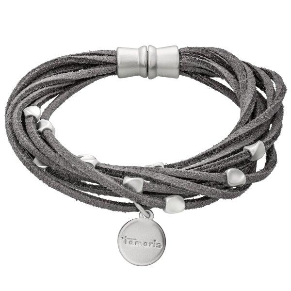 Tamaris Cecil Armband anthrazit aus Leder mit Metallbesätzen und Magnetverschluss