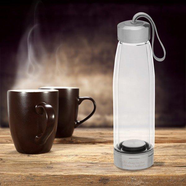 Trinkflasche Glas mit Teesieb und Gravur