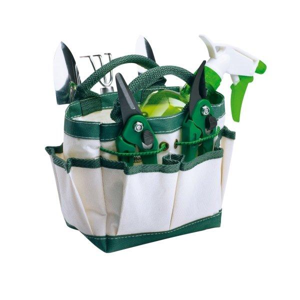 Gartenwerkzeug Set Henkeltasche mit Blumenkelle, Harke, Gartenschere, Rosenschere, Sprühflasche